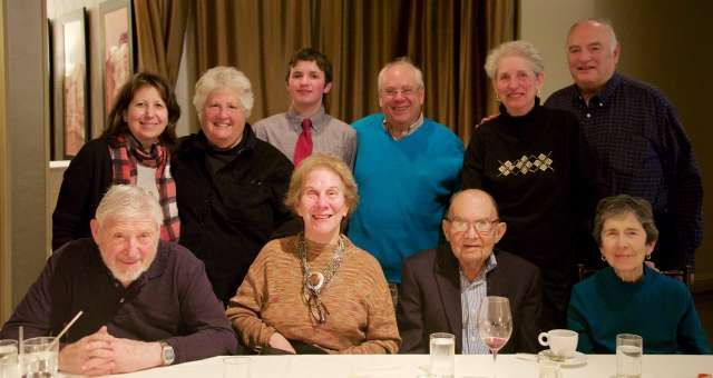 """Joining the Rabbi were the Israels, Silberts, Quigleys, Jessica Mullaney and her son Michael and Arna Meyer Mickelson. Photo by Alan Mickelson"""""""